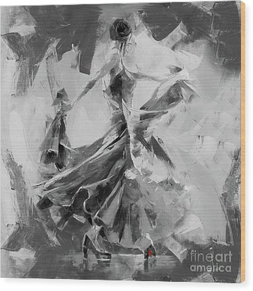 Wood Print featuring the painting Dance Flamenco 01 by Gull G