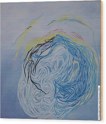 Wood Print featuring the painting Dance In The Wave by Sima Amid Wewetzer