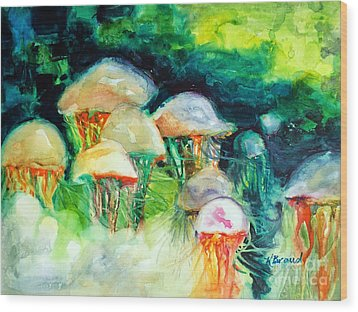 Dance Of The Jellyfish Wood Print