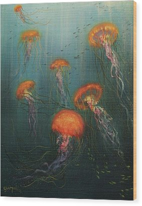 Dance Of The Jellyfish Wood Print by Tom Shropshire