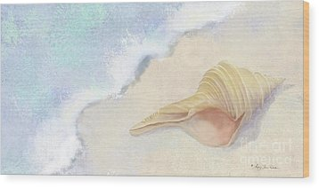 Wood Print featuring the painting Dance Of The Sea - Australian Trumpet Shell Impressionstic by Audrey Jeanne Roberts