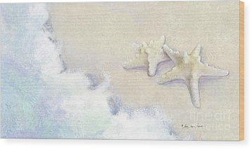 Wood Print featuring the painting Dance Of The Sea - Knobby Starfish Impressionstic by Audrey Jeanne Roberts
