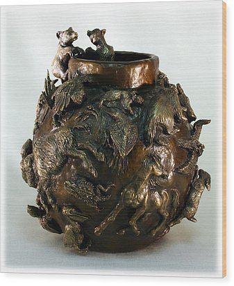 Wood Print featuring the sculpture Dance Of The Seasons - Bronze Bowl With Bear Cubs by Dawn Senior-Trask
