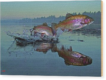 Dance Of The Trout Wood Print by Brian Pelkey