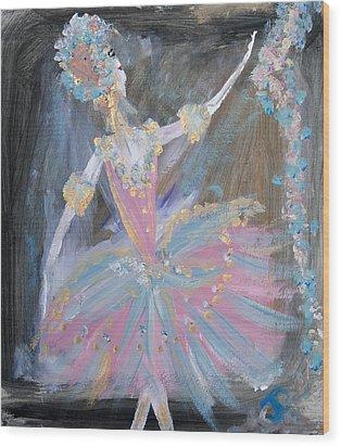 Dancer In Pink Tutu Wood Print