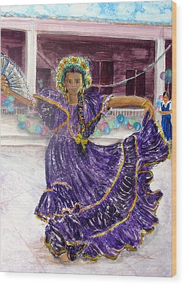 Dancer In Purple Wood Print