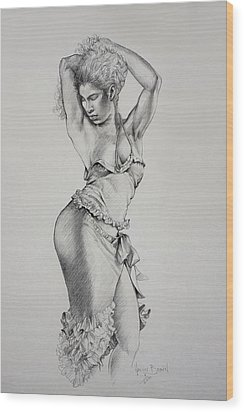 Wood Print featuring the drawing Dancer Muse Study by Harvie Brown