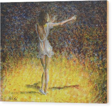 Dancer Spotlight Wood Print by Nik Helbig