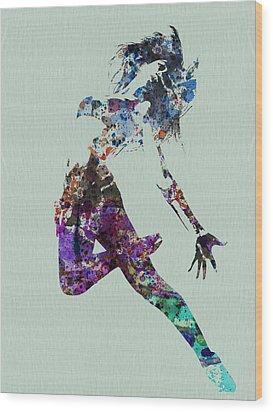 Dancer Watercolor Wood Print by Naxart Studio