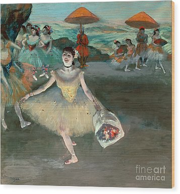 Dancer With Bouquet Wood Print by Edgar Degas