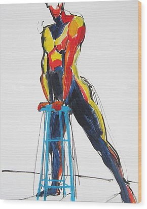 Dancer With Drafting Stool Wood Print by Shungaboy X