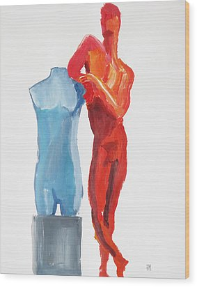 Wood Print featuring the painting Dancer With Mannekin by Shungaboy X