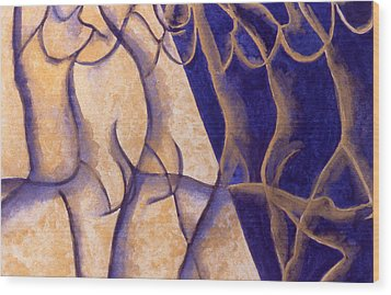 Dancers - Study 12 Wood Print by Caron Sloan Zuger