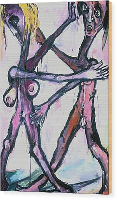 Wood Print featuring the painting Dancers by Kenneth Agnello