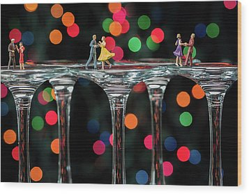 Dancers On Wine Glasses Wood Print