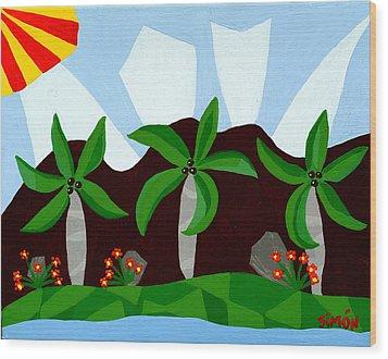 Dancin Palms Wood Print by Lourdes  SIMON