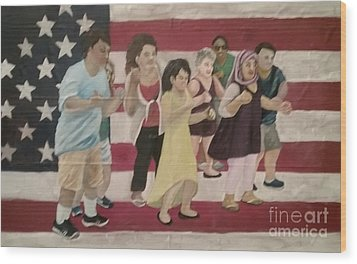 Dancing Americans Wood Print by Saundra Johnson