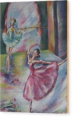 Dancing Ballerinas Wood Print by Khatuna Buzzell