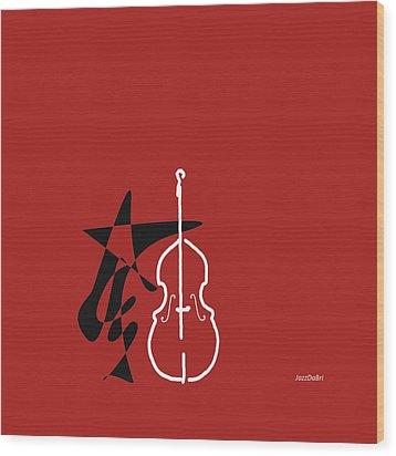 Dancing Bass In Orange Red Wood Print by David Bridburg