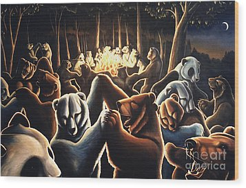 Dancing Bears Painting Wood Print by Kim Hunter