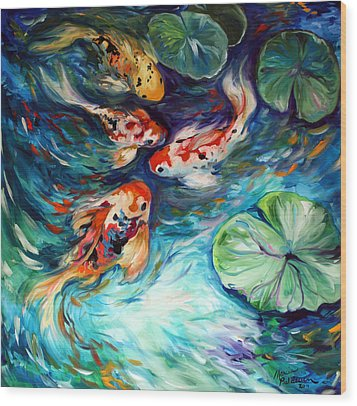 Dancing Colors Koi Wood Print by Marcia Baldwin