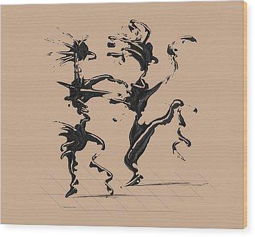 Dancing Couple 4 - Hazelnut Wood Print by Manuel Sueess