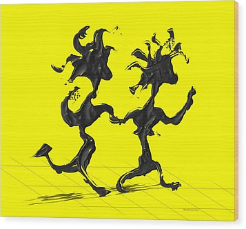 Dancing Couple 7 - Yellow Wood Print by Manuel Sueess