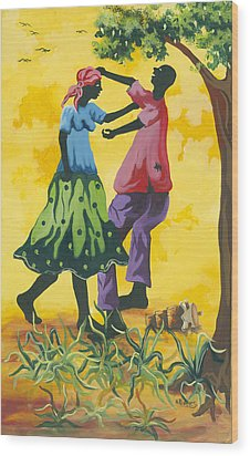 Dancing Couple Wood Print by Herold Alvares