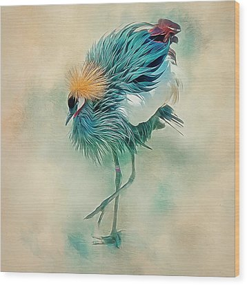 Dancing Crane Wood Print