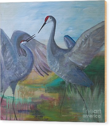 Dancing Cranes Wood Print