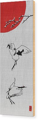 Dancing Cranes Wood Print by Stephanie Grant