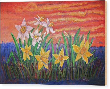 Dancing Daffodils Wood Print by Belinda Lawson