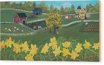 Wood Print featuring the painting Dancing Daffodils by Virginia Coyle