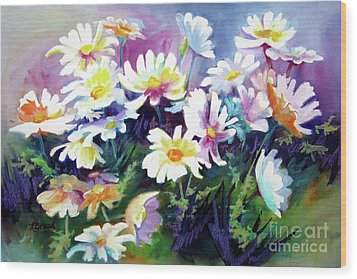 Wood Print featuring the painting Dancing Daisies by Kathy Braud