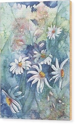 Wood Print featuring the painting Dancing Daisies by Renate Nadi Wesley