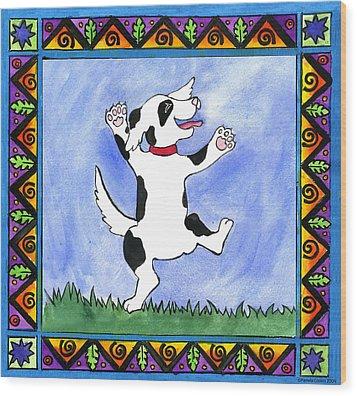 Dancing Dog Wood Print by Pamela  Corwin