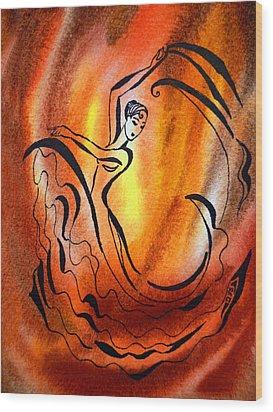 Dancing Fire I Wood Print