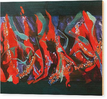 Dancing Flames Wood Print