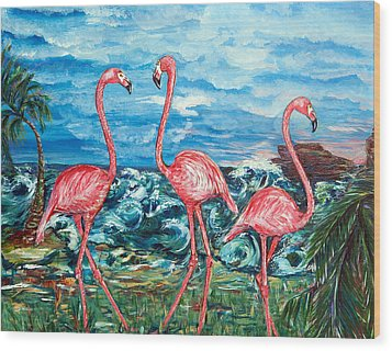 Dancing Flamingos  Wood Print by Yelena Rubin