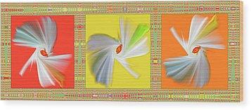 Dancing Flower Trio Wood Print by Ben and Raisa Gertsberg