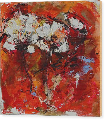 Wood Print featuring the painting Dancing Flowers by Elise Palmigiani