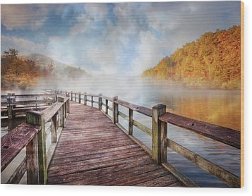 Wood Print featuring the photograph Dancing Fog At The Lake by Debra and Dave Vanderlaan