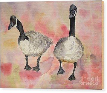 Dancing Geese Wood Print by Vicki  Housel