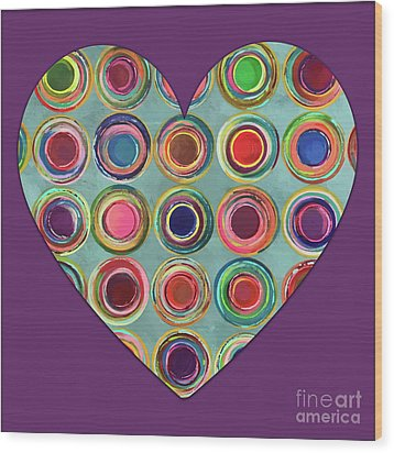 Wood Print featuring the painting Dancing In Circles Heart by Carla Bank