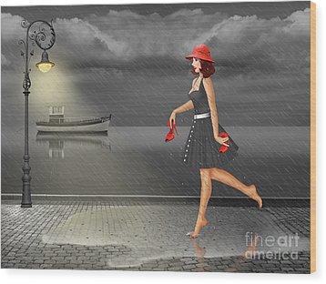 Dancing In The Rain Wood Print by Monika Juengling