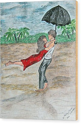 Dancing In The Rain On The Beach Wood Print