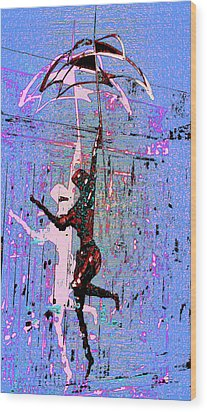 Dancing In The Rain Wood Print by Tony Marquez