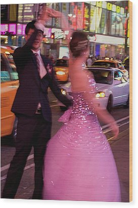 Dancing In Times Square Wood Print by Vijay Sharon Govender