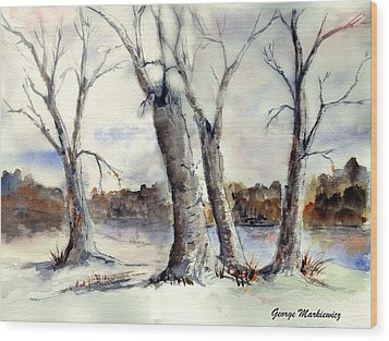 Dancing In Winter Wood Print by George Markiewicz