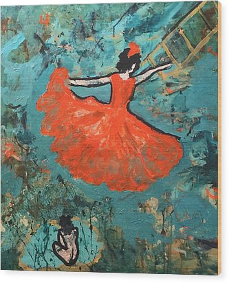 Wood Print featuring the painting Dancing Lady by Annette McElhiney